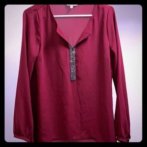 Juicy Couture burgundy blouse with rhinestones M